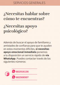 Información de apoyo psicológico