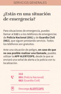 Información de emergencias