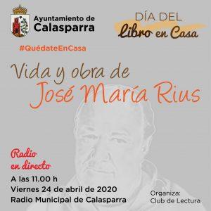 Cartel con la imagen de José María Rius Programa de radio en directo 11.00 h viernes 24 abril