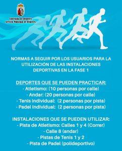 Deportes que se pueden practicar:  Atletismo: (10 personas por calle) Andar: (20 personas por calle) Tenis individual: (2 personas por pista) Pádel Individual: (2 personas por pista).