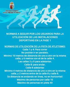 Normas de uso de la pista de atletismo.