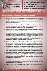 II batería de medidas fiscales, económicas y sociales, emitidas por el Ayuntamiento de Calasparra ante la crisis del COVID-19