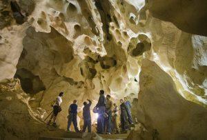Un grupo de personas en una Visita turística a la Cueva del Puerto, se ven en una fotografía tomada desde abajo para poder ver el techo.