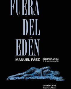 """La alcaldesa, Tersa García, acude a la inauguración de la exposición """"Fuera del Edén"""". Con la Tipografía en azul claro sobre fondo negro."""